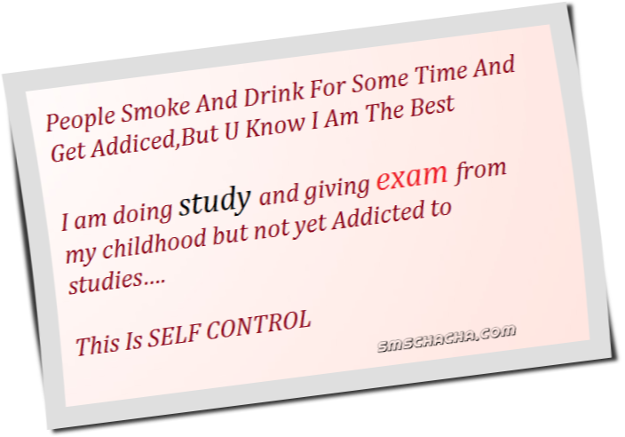 Funny Exam Sms On Self Control