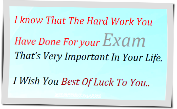 Best Of Luck For Your Exam Sms