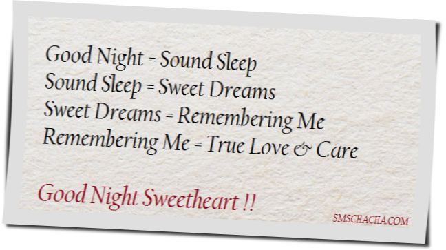 Good Night Sms For Sweetheart