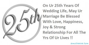 happy 25th wedding anniversary sms wishes